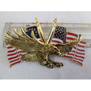 FLYING EAGLE WITH USA FLAG 4 1/4  X 2  3/4