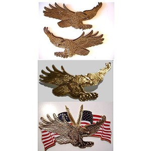 GOLD EAGLE WITH USA FLAG 3  X 1 3/4